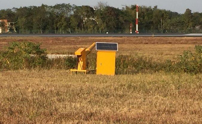 黄山机场新装太阳能煤气驱鸟炮强化鸟防工作